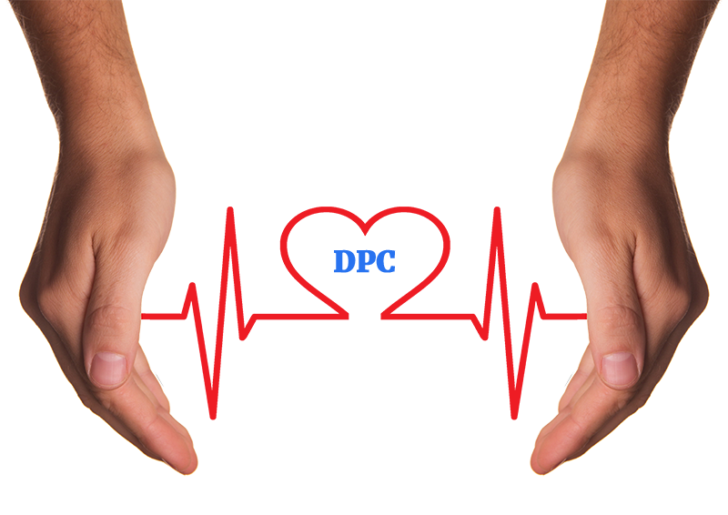 Hands with heartbeat and DPC